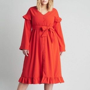 Lost Ink ASOS Ruffle midi dress 2X NWT Holiday red